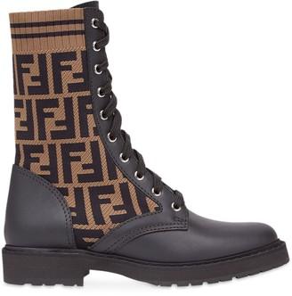 Fendi black Rockoko logo combat boots