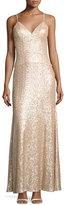 Nicole Miller New York Spaghetti-Strap Sequin Column Gown, Blush