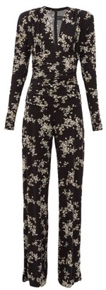 Norma Kamali Floral-print V-neck Wide-leg Jumpsuit - Black Print