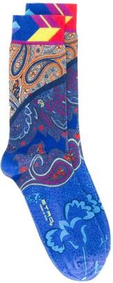 Etro Contrast Paisley Pattern Socks