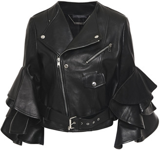 Alexander McQueen Cropped Ruffle-trimmed Leather Biker Jacket