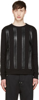 Giuliano Fujiwara Black Leather Striped Pullover