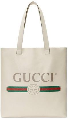 Gucci logo-print leather tote