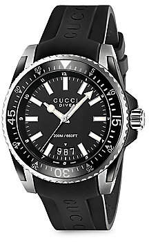 Gucci Men's Dive Stainless Steel Rubber Band Watch
