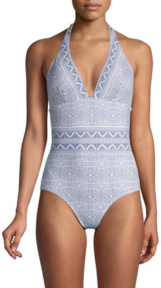 Shoshanna Mosaic Medallion Halter One-Piece Swimsuit