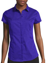 WORTHINGTON Worthington Short Sleeve Button-Front Shirt - Tall