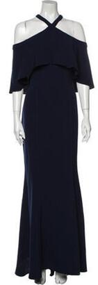 Carmen Marc Valvo Off-The-Shoulder Long Dress Blue