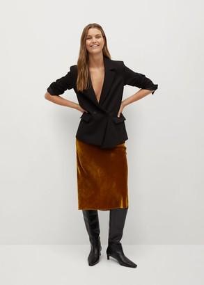 MANGO Midi velvet skirt