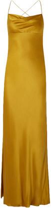 Mason by Michelle Mason Open-back Draped Silk-satin Gown