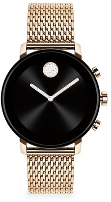 Movado Connect 2.0 Rose Gold Black Ion-Plated Stainless Steel & Mesh-Link Bracelet Smart Watch