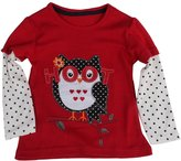 Mammybaby Little Girl Owl Long Sleeved T-Shirt Red Cotton Clothes