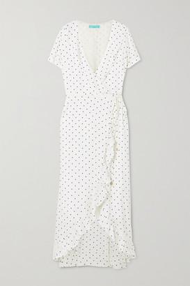 Melissa Odabash Tilly Ruffled Polka-dot Jacquard Wrap Dress - White