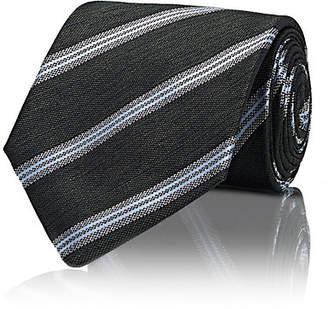 Isaia Men's Repp-Striped Silk Necktie - Green