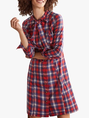Boden Elspeth Check Shirt Dress, Red/Ivory
