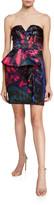 Parker Black Makani Strapless Printed Satin Mini Dress with Peplum