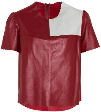 Manley Boxter Leather Tee Burgundy & White