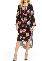 GB Floral Lace-Up V-Neck High-Low Midi Dress
