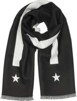 Givenchy Stripe and Star-Intarsia Black Wool Long Scarf