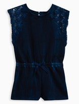 Splendid Little Girl Indigo Brushed French Terry Romper with Lace
