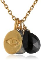 Satya Jewelry Onyx Labradorite Gold Plated Eye Pendant Necklace, 18 inches