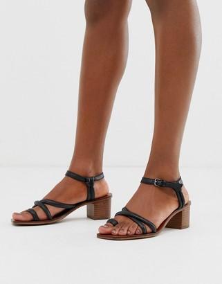 Asos Design DESIGN Tally premium leather toe loop heeled sandals