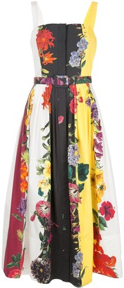 Oscar de la Renta Floral Print Belted Dress