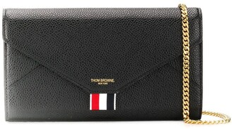 Thom Browne Removable-Chain Pebbled Envelope Clutch