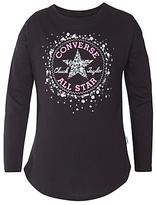 Converse Girls' Sequin Chuck Patch T-Shirt, Black