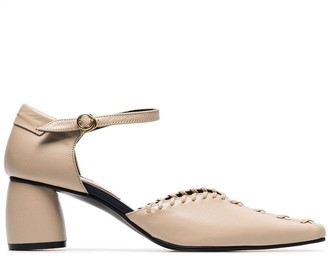 Reike Nen neutral 60 ankle strap whipstitched leather pumps
