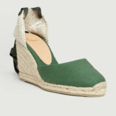 Castaner Green Cotton and Leather Carina Espadrille Sandal - cotton/leather | green | 36 - Green/Green