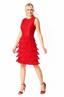 Roman Originals Women Stretch Lace Flapper Tassel Fringe Knee Length Shift Dress - Ladies Pencil Party Wedding Formal Evening Vintage Style Fancy Dress Great Gatsby Dance - Red - Size 14