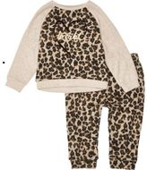 River Island Mini girls brown leopard print joggers set