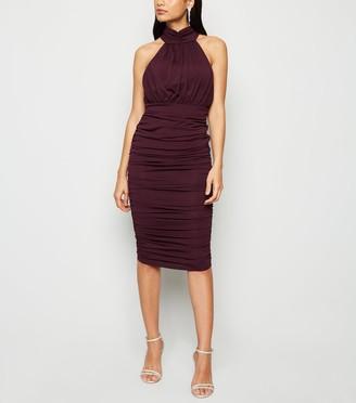 New Look AX Paris Ruched High Neck Dress