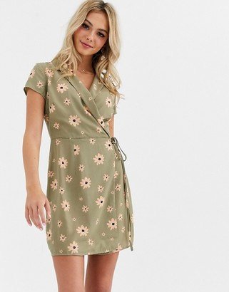 Glamorous wrap front tea dress in floral