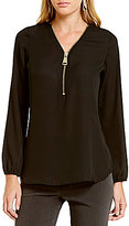 Investments Long Sleeve Front Zipper Blouse