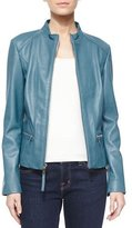 Neiman Marcus Washed Lambskin Leather Jacket
