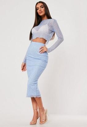 Missguided Sxf X Blue Croc Print Mesh Midi Skirt
