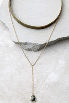LuLu*s Bewitched Gold and Olive Green Velvet Choker Necklace Set