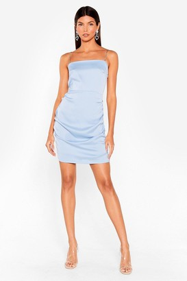 Nasty Gal Womens No Ruche Satin Mini Dress - Powder Blue