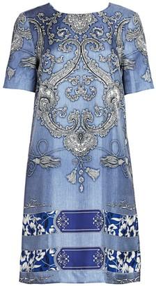 Etro Bandana-Print Silk Shift Dress