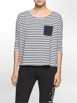 Calvin Klein Performance Boxy Striped 3/4 Sleeve Top