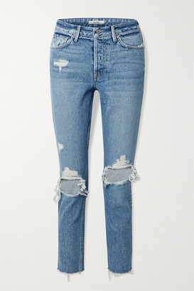 GRLFRND Karolina Cropped Distressed High-rise Skinny Jeans - Blue