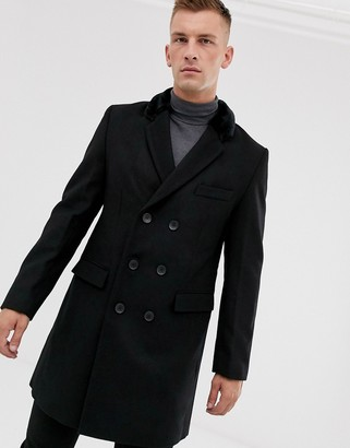 French Connection premium wool blend double breasted overcoat faux fur collar-Black