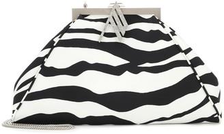 ATTICO Alma zebra-print satin clutch