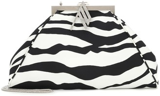 The Attico Alma zebra-print satin clutch