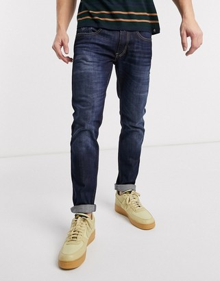 Replay Anbass slim fit power stretch jeans in dark wash