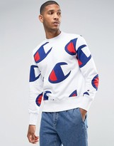 Champion Sweatshirt With All Over Large Logo Print