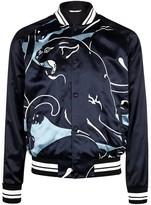 Valentino Navy Panther-print Satin Bomber Jacket