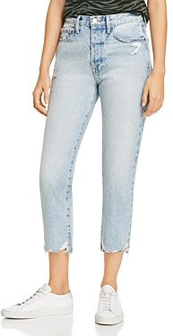 Frame Le Original High-Rise Distressed Straight-Leg Jeans in Clash