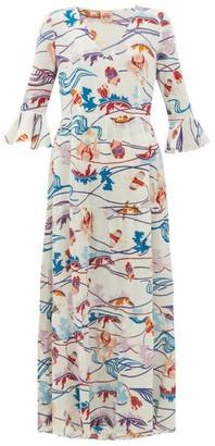 Le Sirenuse Positano Le Sirenuse, Positano - Bella Magic Flower-print Cotton-voile Dress - Cream Print